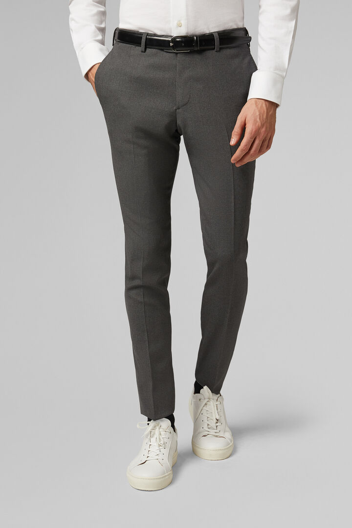 Slim Fit Grey Wool Travel Suit Trousers, Grey, hi-res