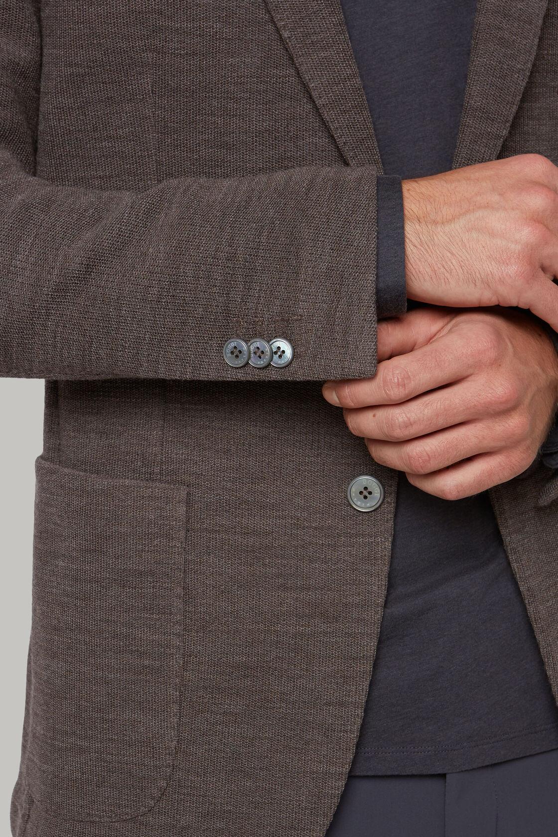 Giacca tortora in lana b jersey, Tortora, hi-res