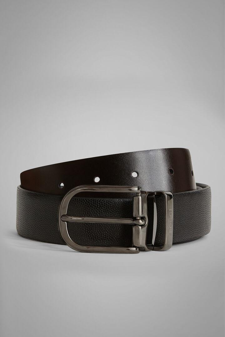 Cintura Reversibile In Pelle Stampa Caviar, Nero - Moro, hi-res
