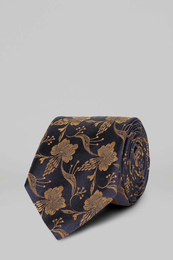 Cravatta Floreale In Raso Di Seta Jacquard, Blu - Giallo, hi-res