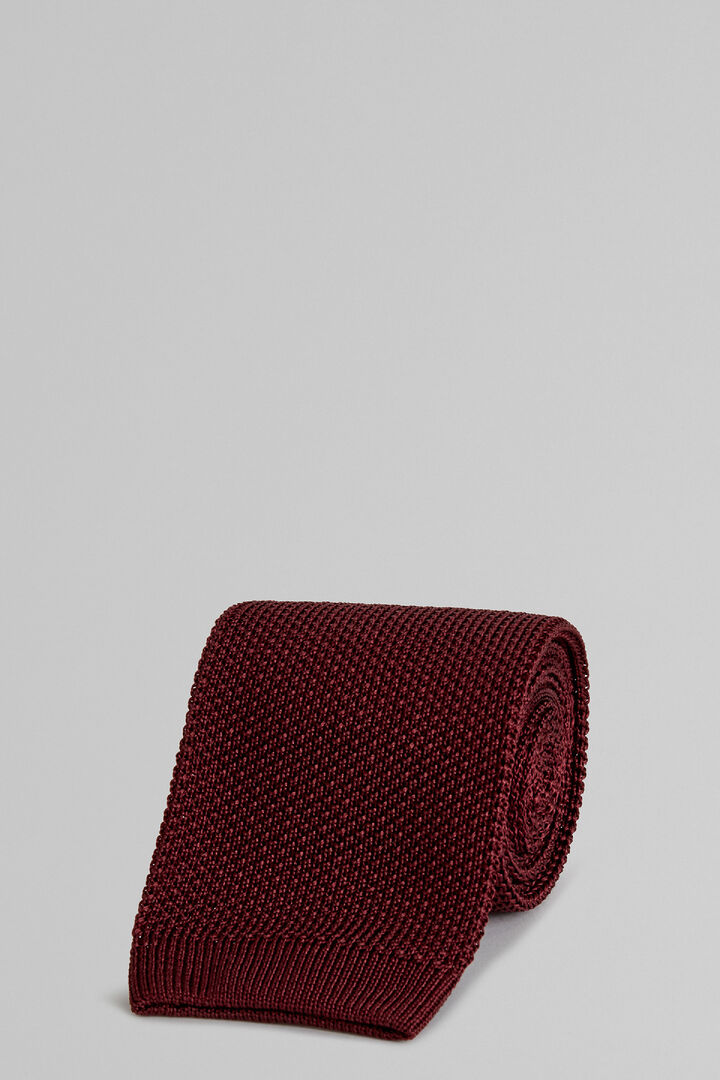 Burgundy Plain Knitted Silk Tie, Burgundy, hi-res