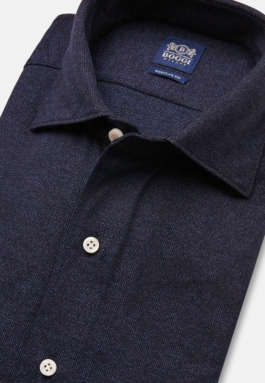 Polo camicia in jersey di cotone microfantasia, Blu, hi-res