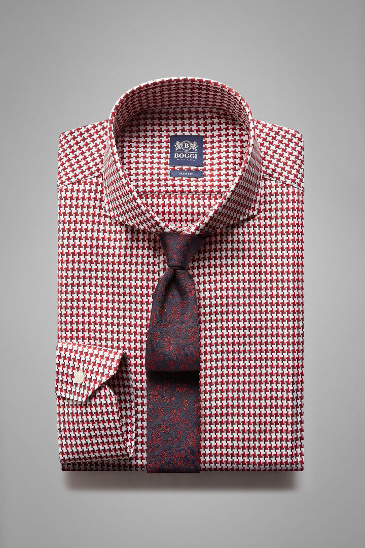 Slim Fit Burgundy Shirt With Naples Collar, White - Burgundy, hi-res