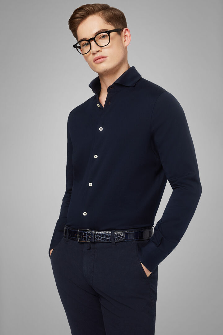 Slim Fit Navy Blue Casual Shirt With Open Collar, Navy blue, hi-res