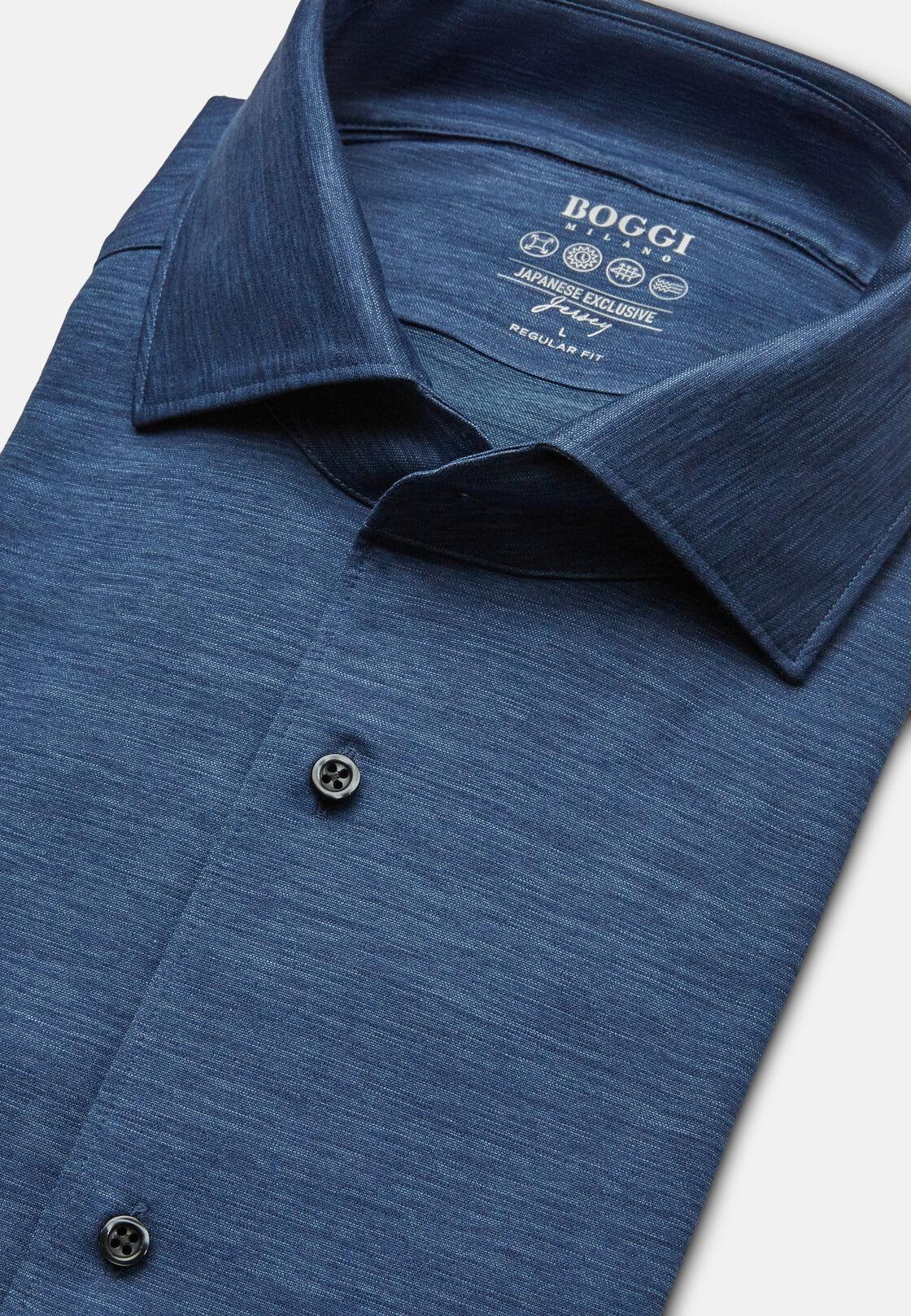 Polohemd aus japanischem jersey regular fit, Indigo, hi-res