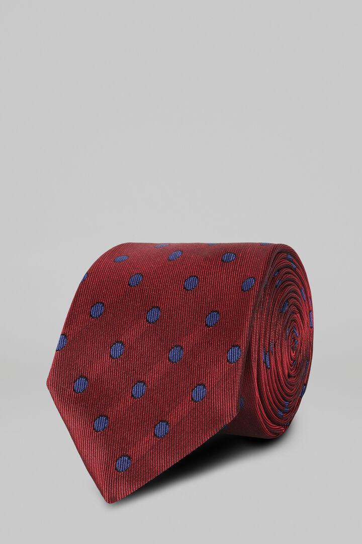 Cravate À Pois En Soie Jacquard, rouge, hi-res