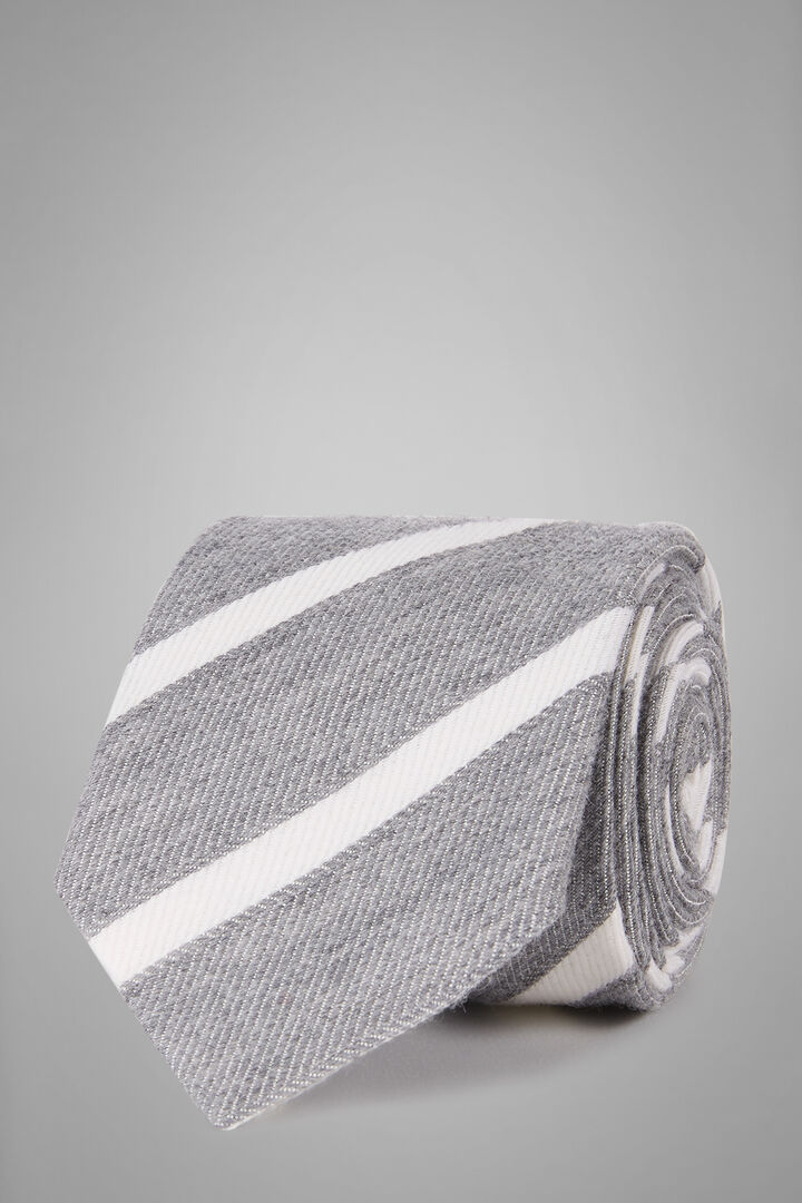 Regimental Bourette Wool And Silk Tie, Light grey, hi-res