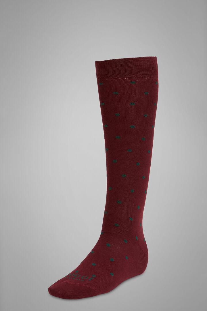Polka Dot Long Socks, Burgundy - Green, hi-res