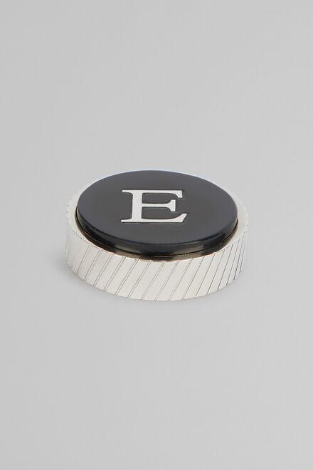 Metal Letter E Cufflinks, Black, hi-res
