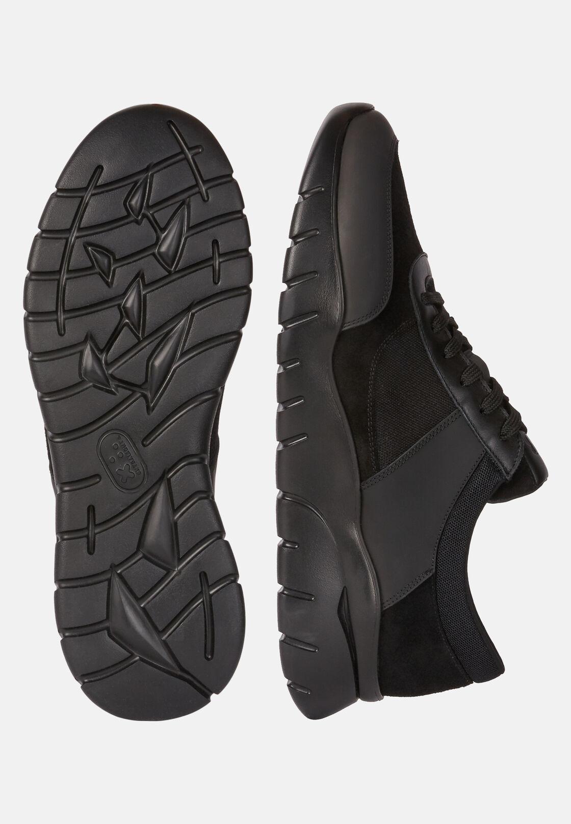 Schwarze sneaker aus technischem gewebe und leder, Schwarz, hi-res