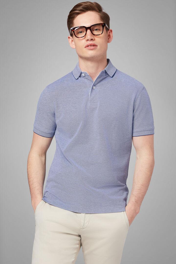 Polo Blu In Pique Di Cotone, Blu, hi-res