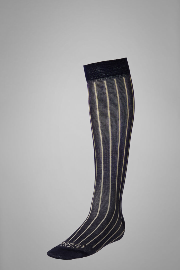 Long Socks With Contrasting Cuff, Navy - Natural, hi-res