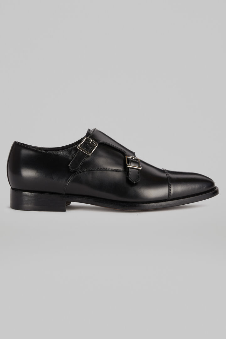 Smooth Leather Monk Shoes, Black, hi-res