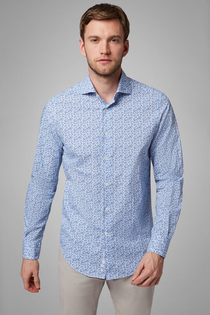 Slim Fit Sky Blue Floral Print Shirt With Florence Collar, Light blue, hi-res