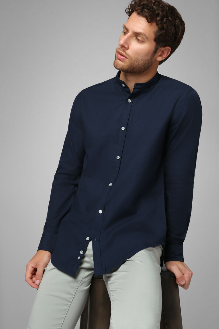 Regular Fit Navy Blue Shirt With Mandarin Collar, Navy blue, hi-res