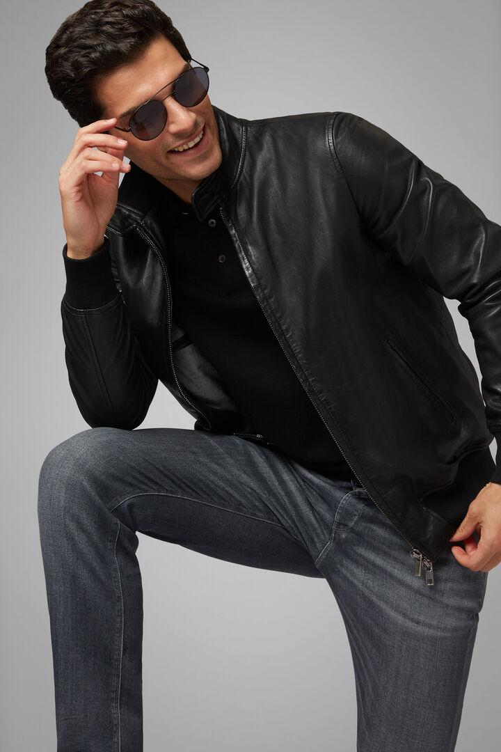 Leather Jacket, Black, hi-res
