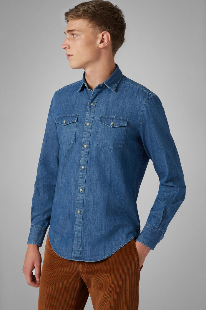 Camicia Denim Western Slim Fit, , hi-res