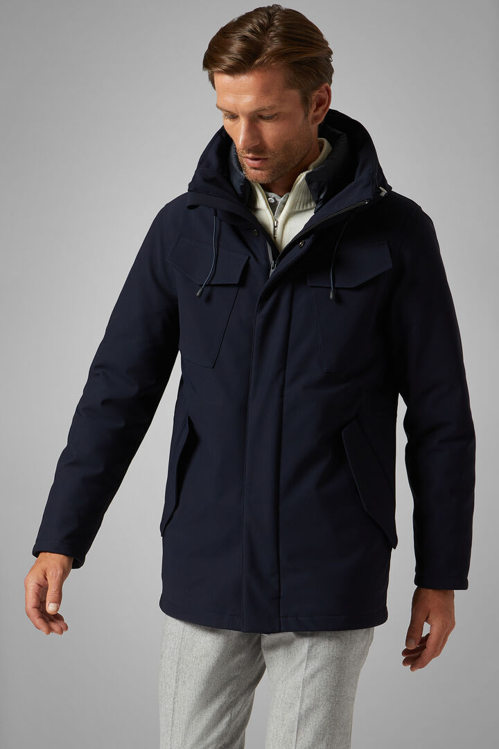 Down Field Jacket With Hood, Navy blue, hi-res