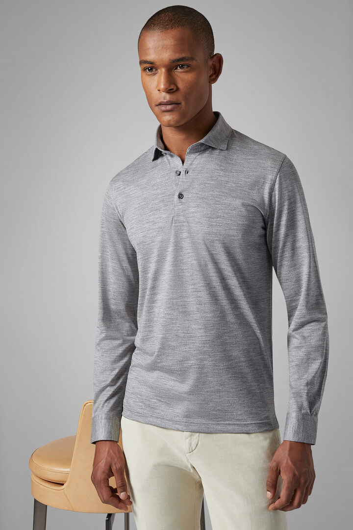 Slim Fit Merino Jersey Polo Shirt, Grey, hi-res