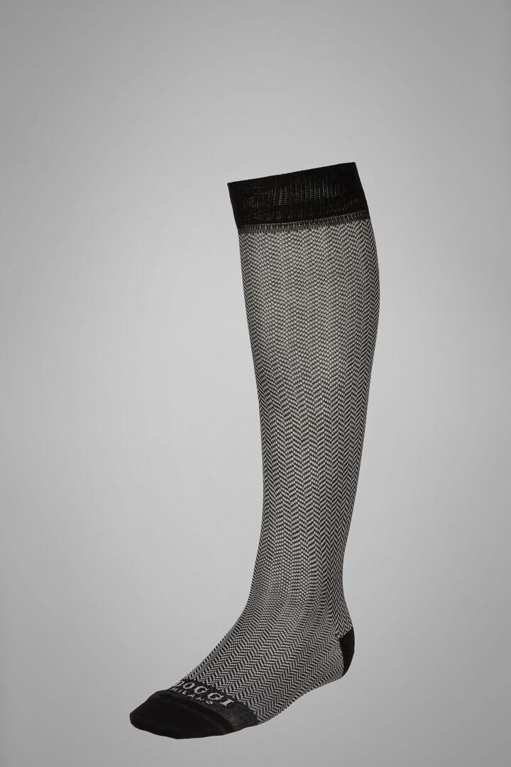 Long Socks With Macro Herringbone Motif, Blue - Light blue, hi-res