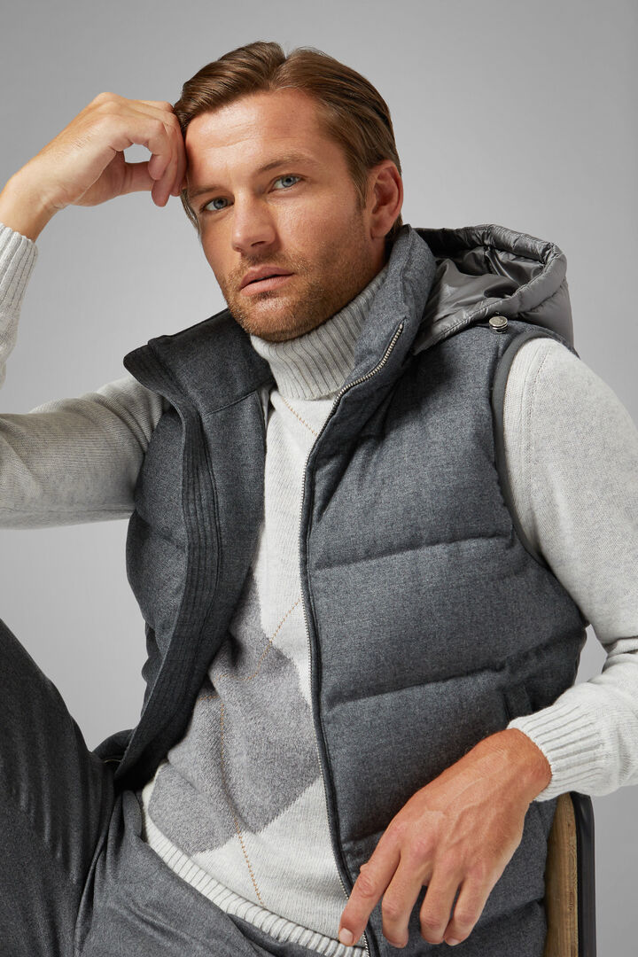 Sleeveless Wool And Nylon Down Jacket With Hood, Grey, hi-res