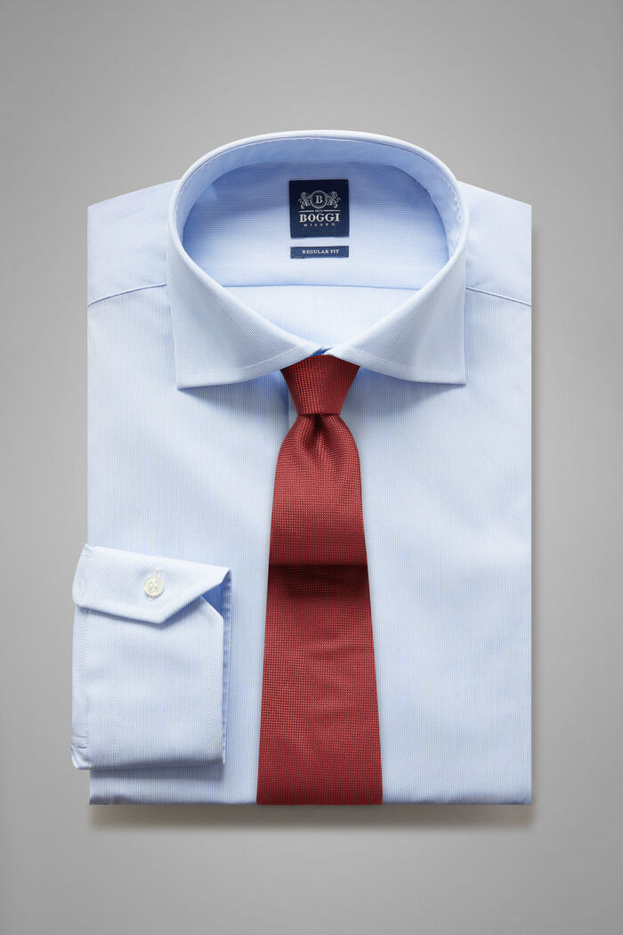 Regular Fit Sky Blue Striped Shirt With Windsor Collar, , hi-res