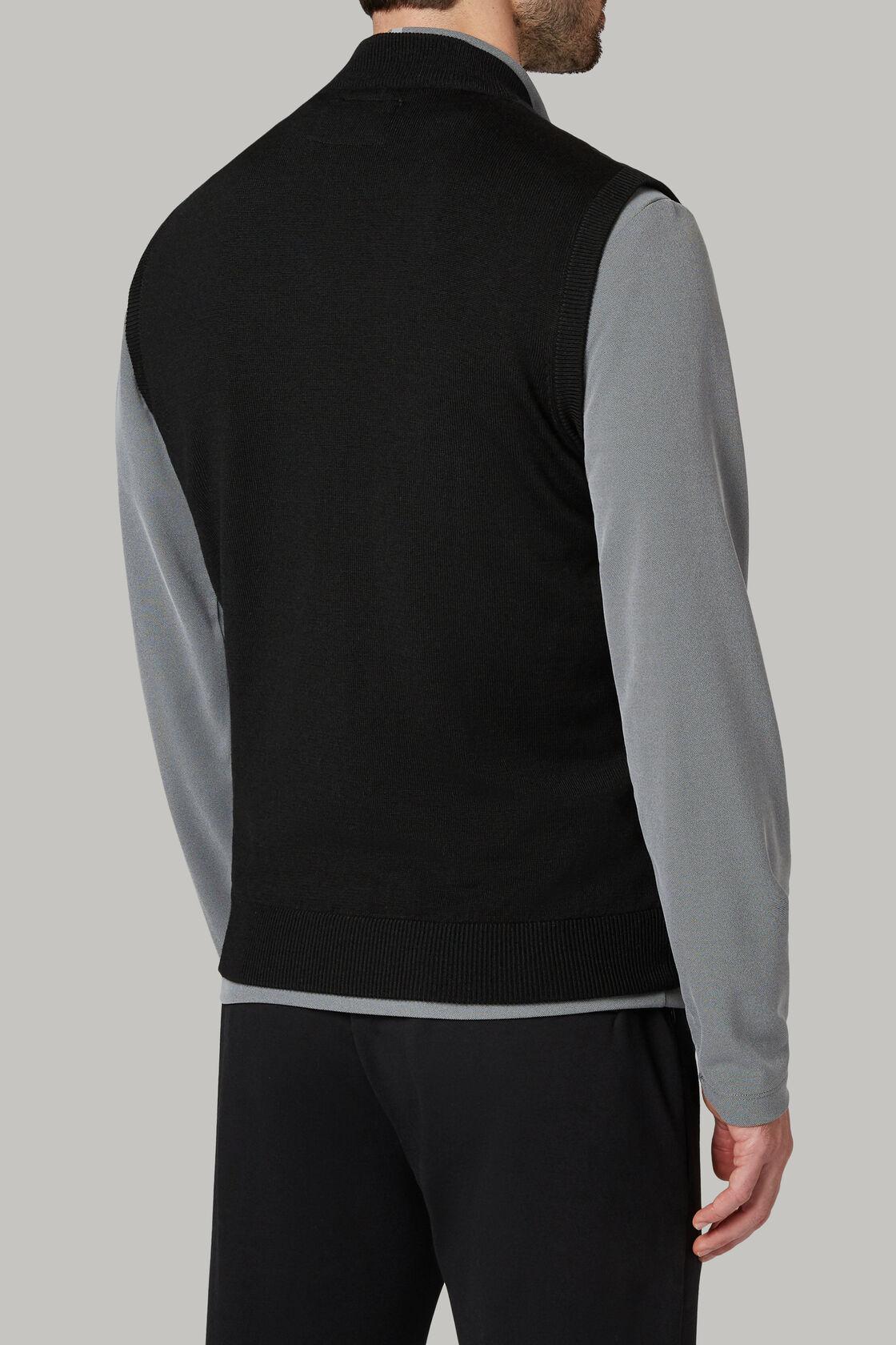 Schwarze strickweste aus wolle und technischem jersey, , hi-res