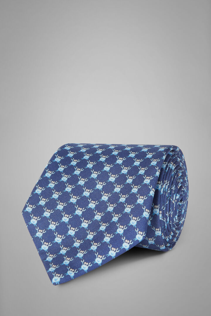 Crab Print Silk Tie, Blue - Light blue, hi-res