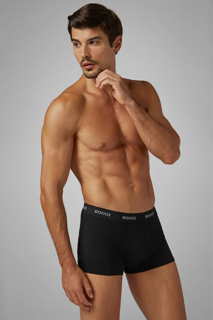 Black Stretch Cotton Boxer Briefs, Black, hi-res