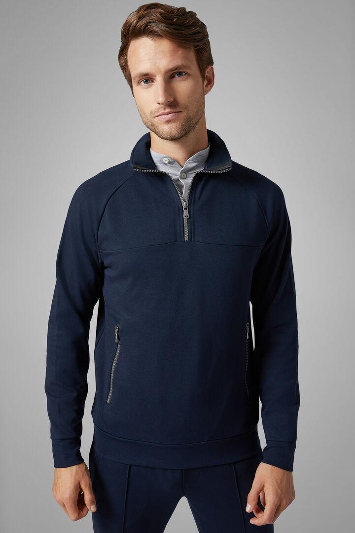 Sweat Demi-Zip En Coton Mélangé, bleu marin, hi-res