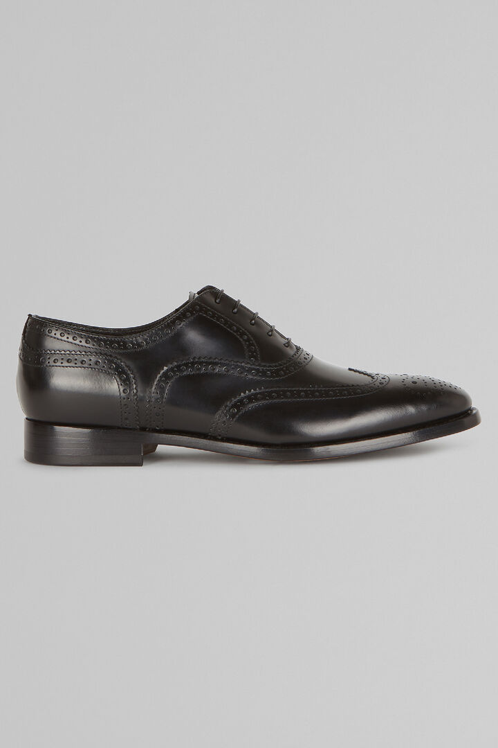 Oxford Shoes In Brogued Leather, Black, hi-res