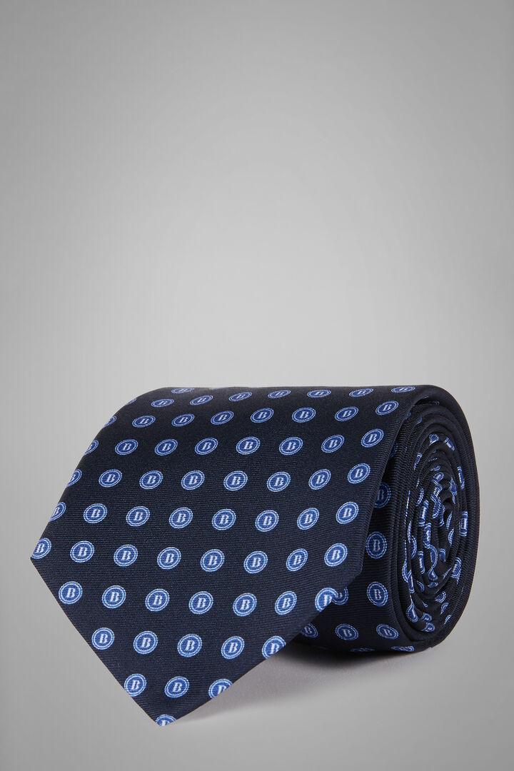 Bedruckte Seidenkrawatte Mit Logo-Muster, Blau - Bluette, hi-res