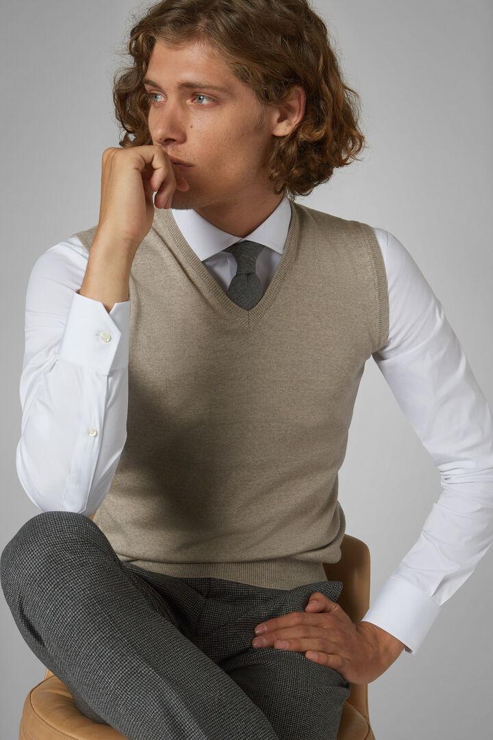 Slipover-Pullover Aus Merinowolle Extrafein, Grau - Beige, hi-res