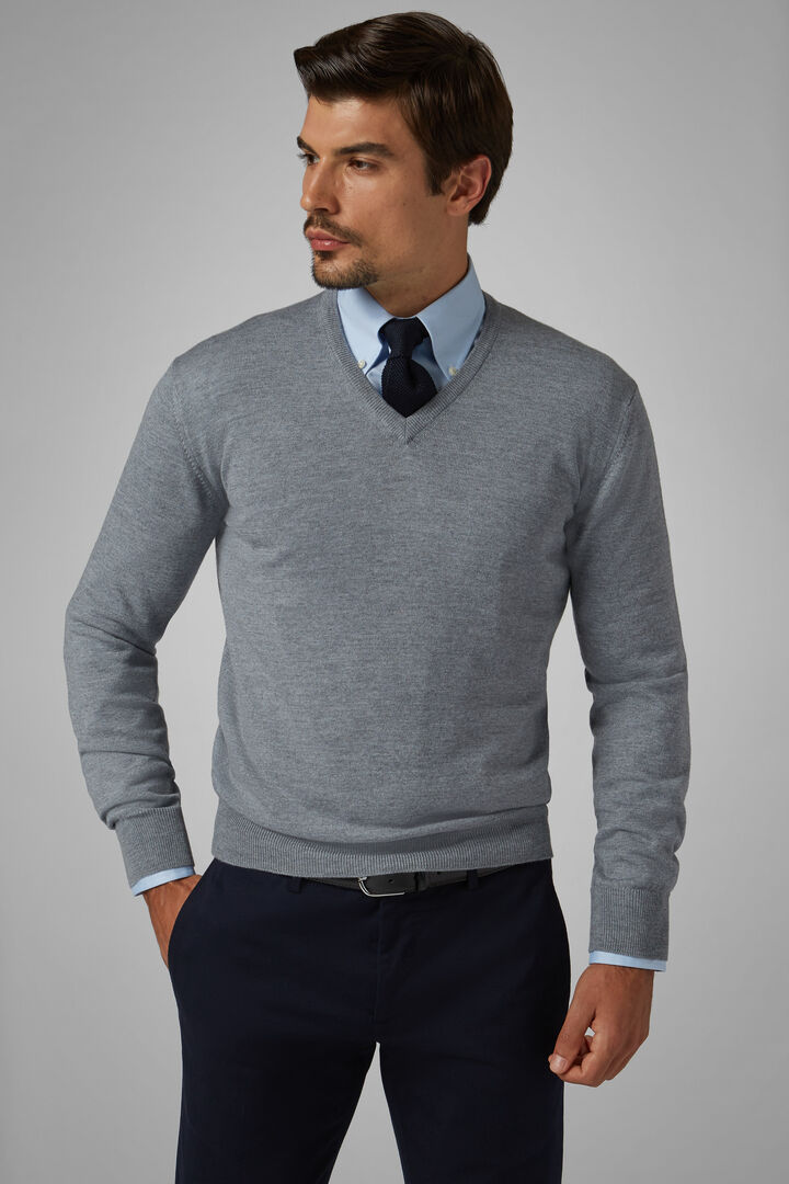 Extra Fine Merino Wool V-Neck Jumper, Grey, hi-res