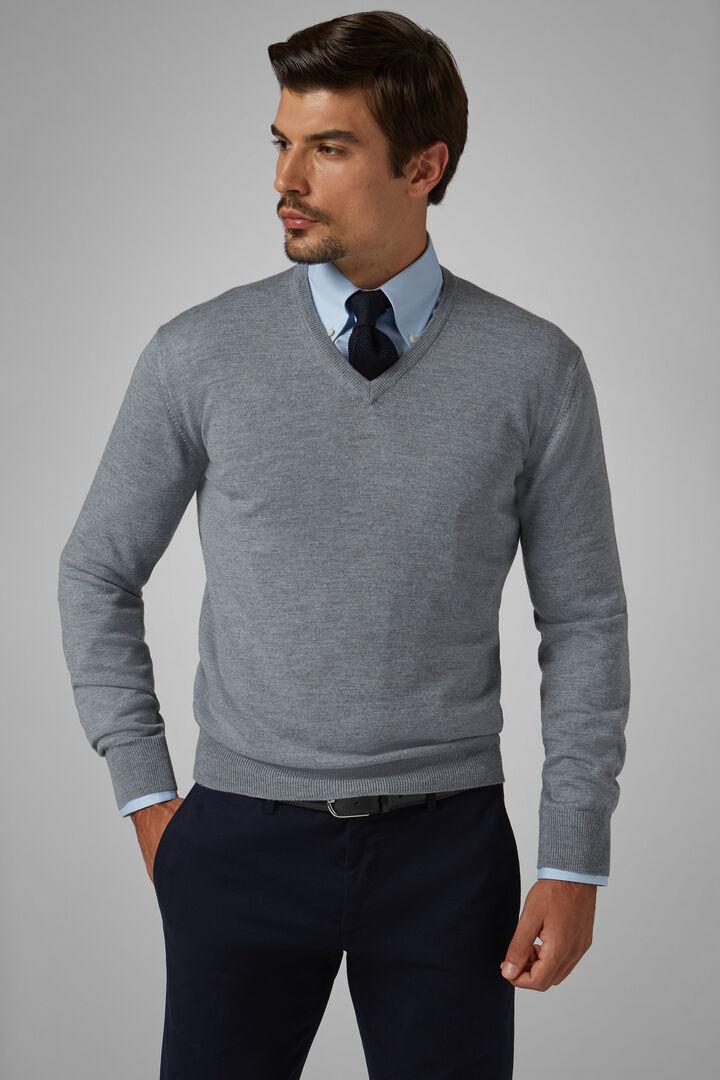 Pullover Mit V-Ausschnitt Aus Merinowolle Extrafein, Grau, hi-res