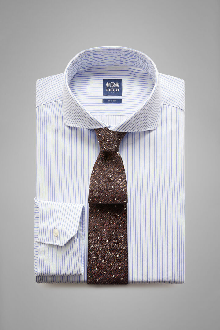 Slim Fit Sky Blue Striped Shirt With Naples Collar, White - Light blue, hi-res