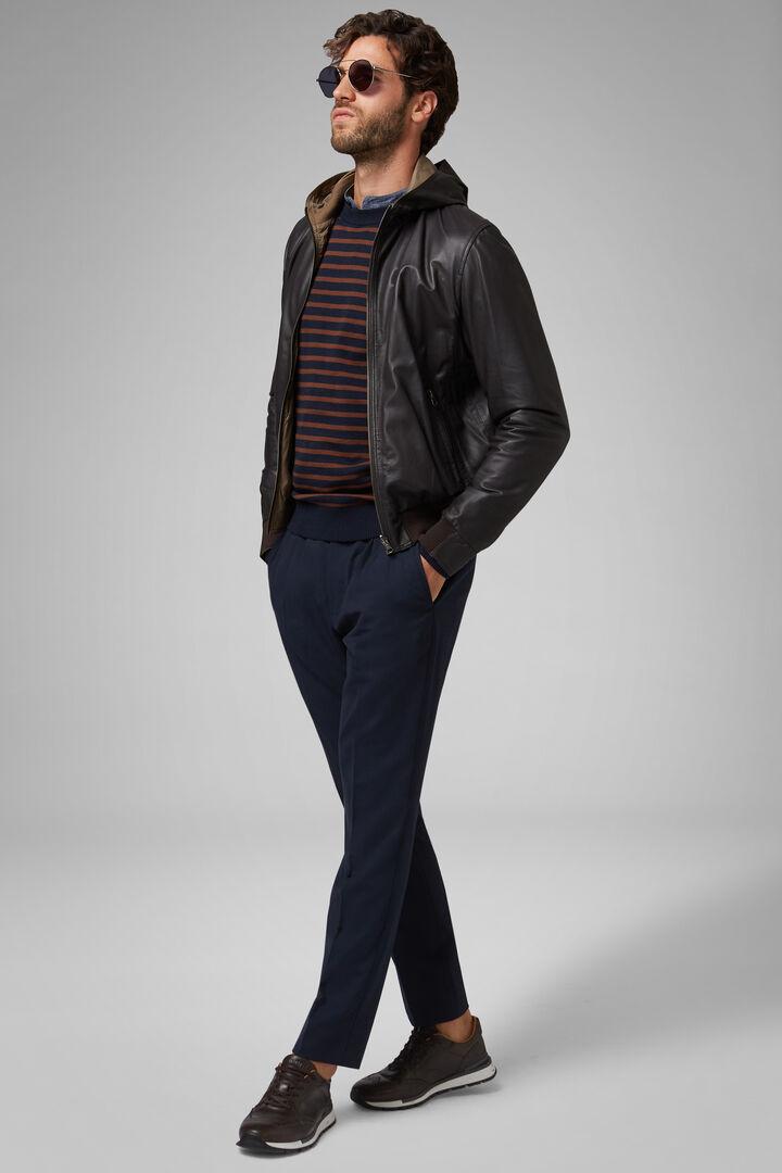 Reversible Hooded Leather Jacket, Dark brown, hi-res