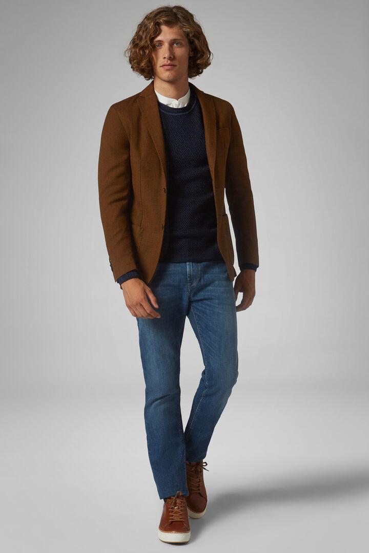 Ochre Wool Blend Brescia Blazer, Ochre, hi-res