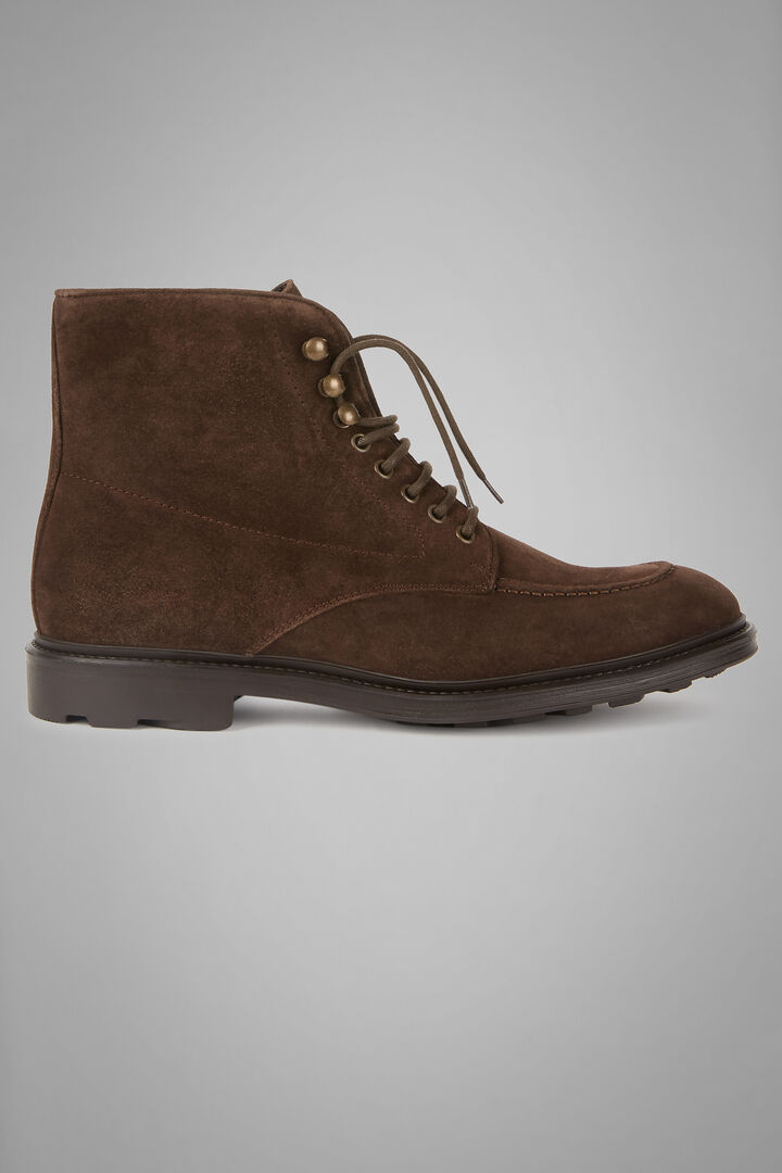 Suede Lace-Up Ankle Boots, Dark brown, hi-res