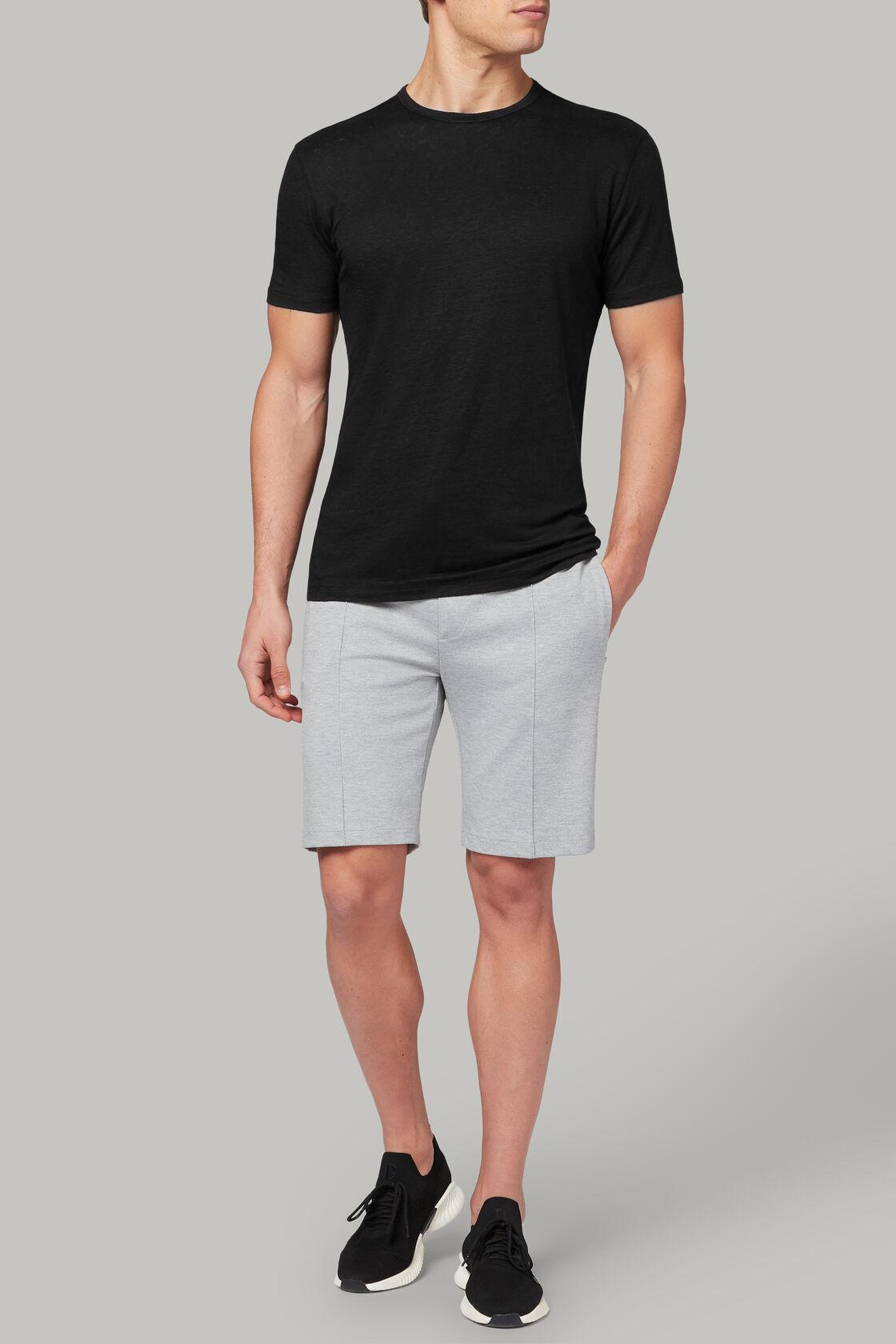 T-shirt aus elastischem leinenjersey, Schwarz, hi-res