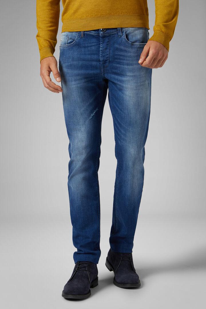 Pantalon 5 Poches En Denim Light Wash Coupe Ajustée, toile de jean, hi-res