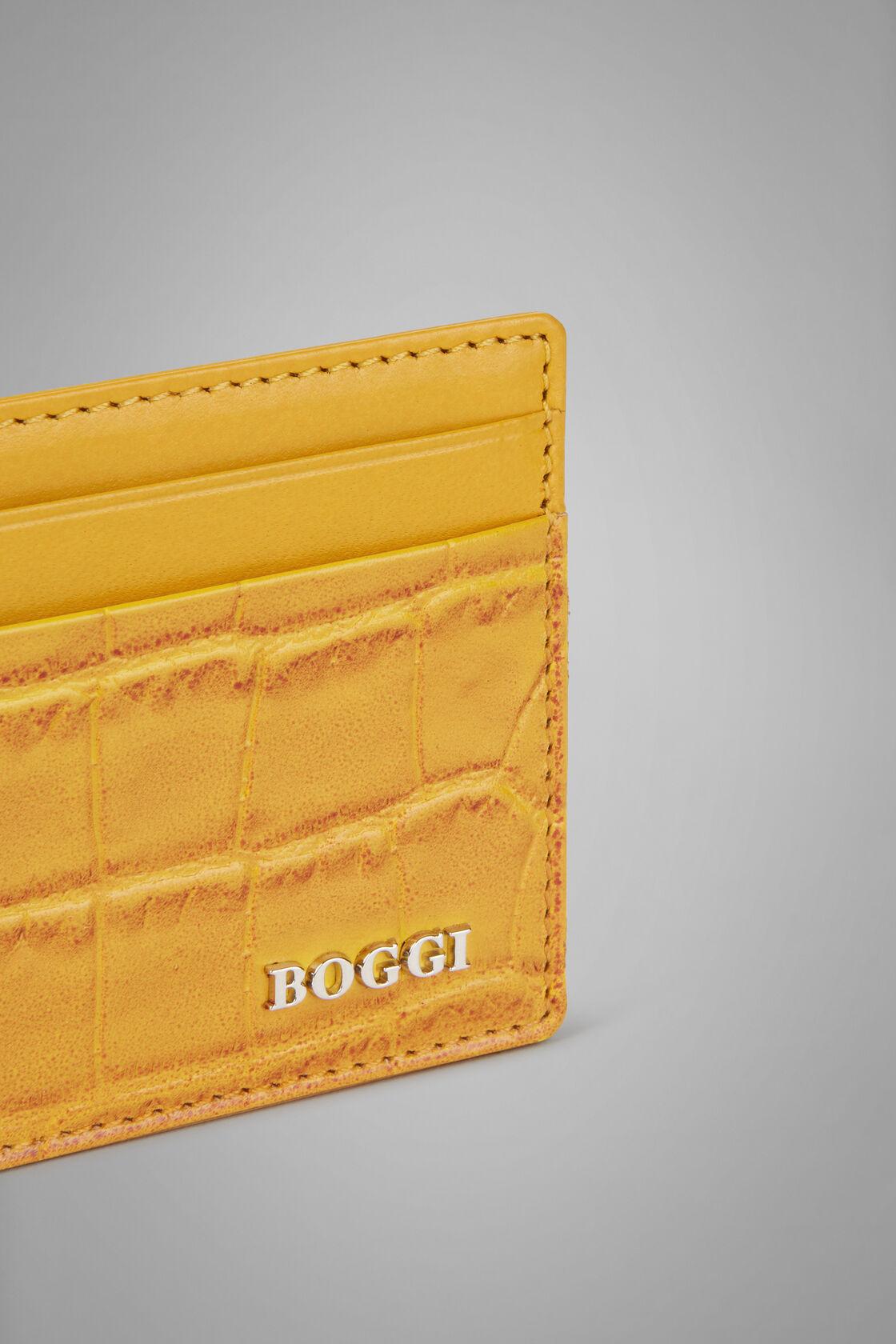 Kartenbörse Für Kreditkarten Aus Leder Mit Kokosnuss-Prägung, Gelb, hi-res