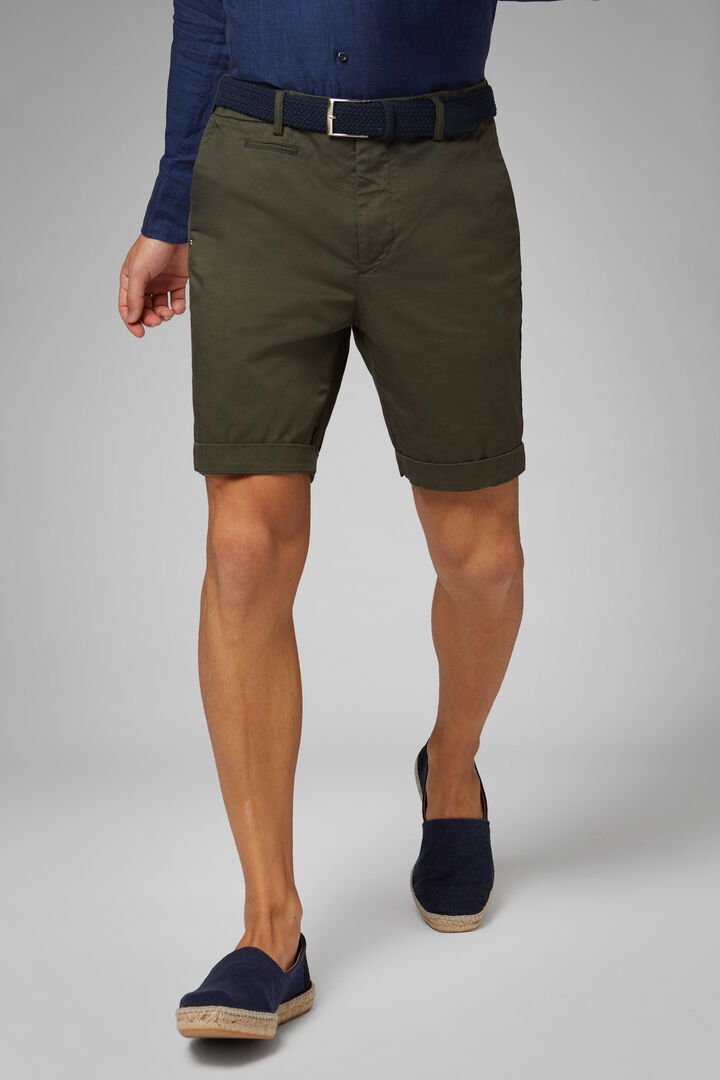 Plain Cotton Gabardine Bermuda Shorts, Military Green, hi-res