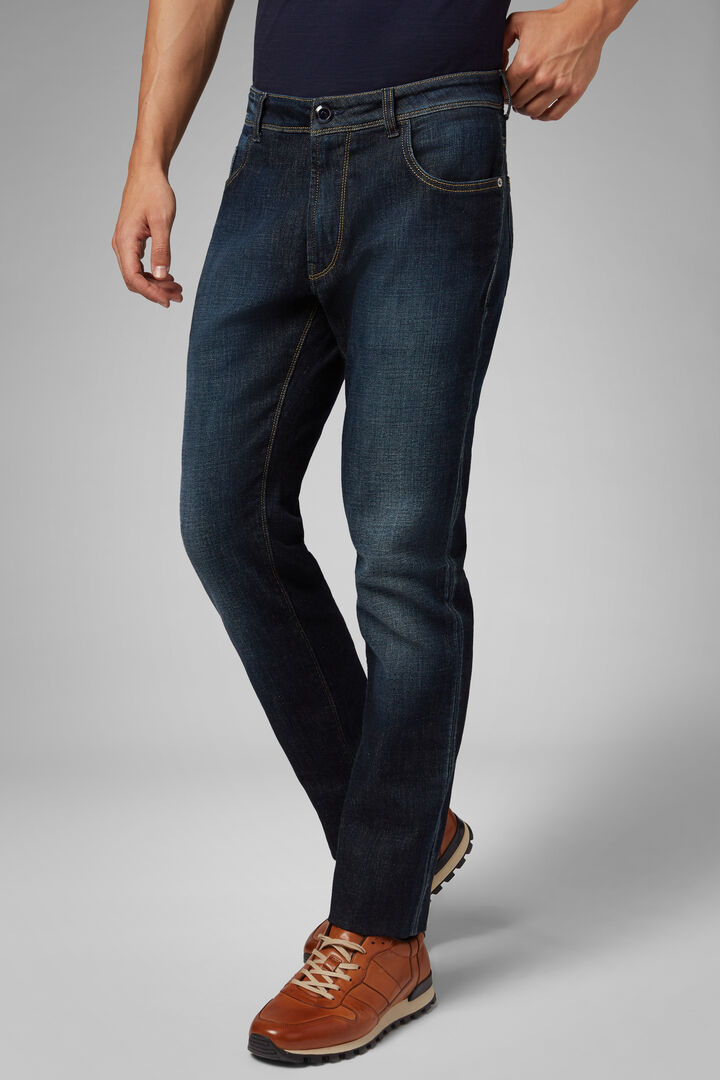 Regular Fit Dark Wash Denim 5 Pocket Jeans, Indigo, hi-res