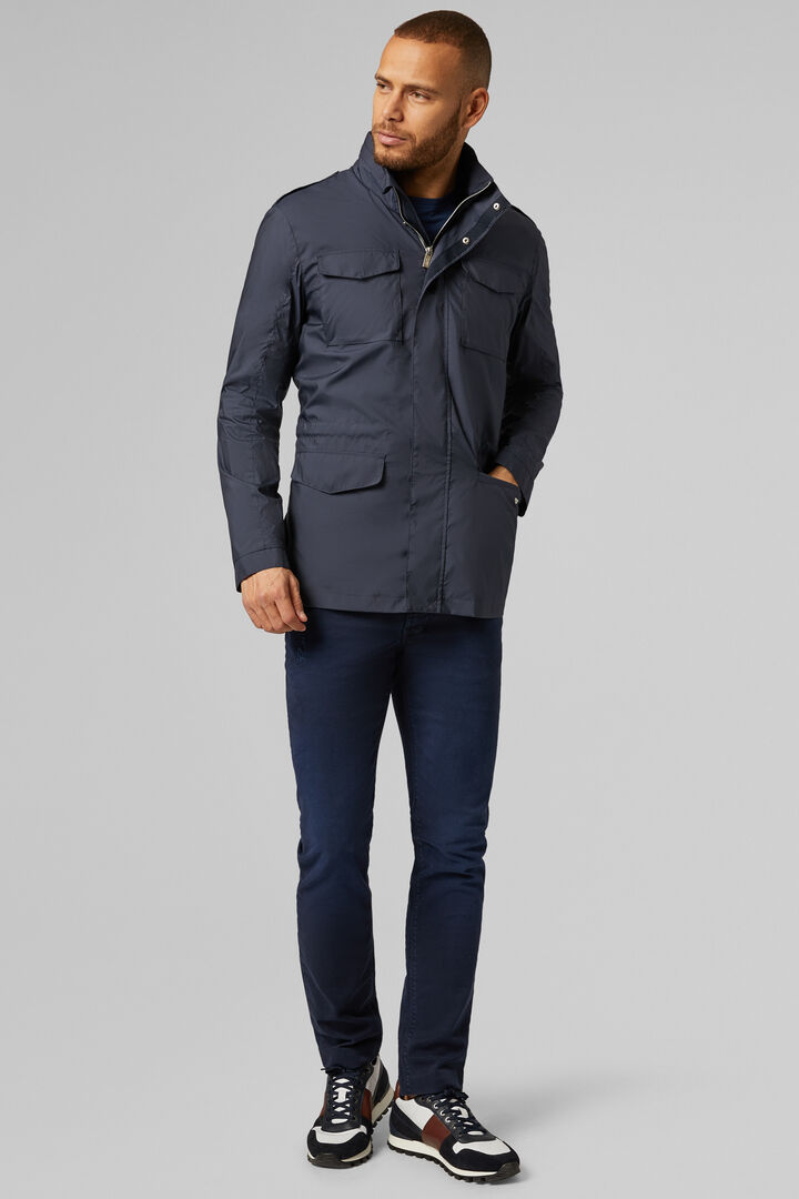 Field Jacket Aus Dichtem Stoff, Navy blau, hi-res