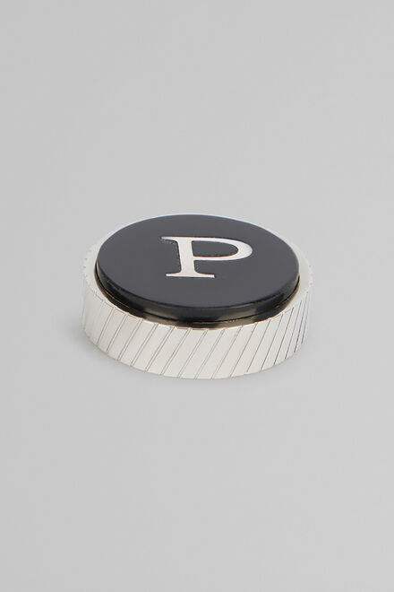 Metal Letter P Cufflinks, Black, hi-res