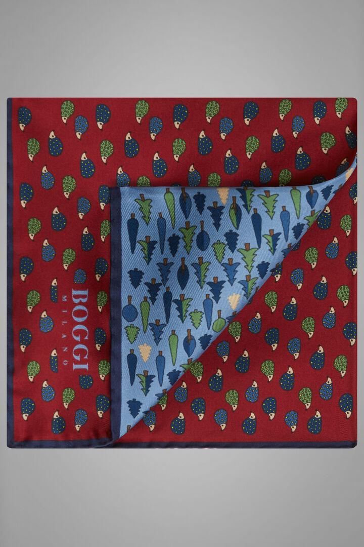 Printed Silk Conversational Pocket Square, Light blue - Burgundy, hi-res