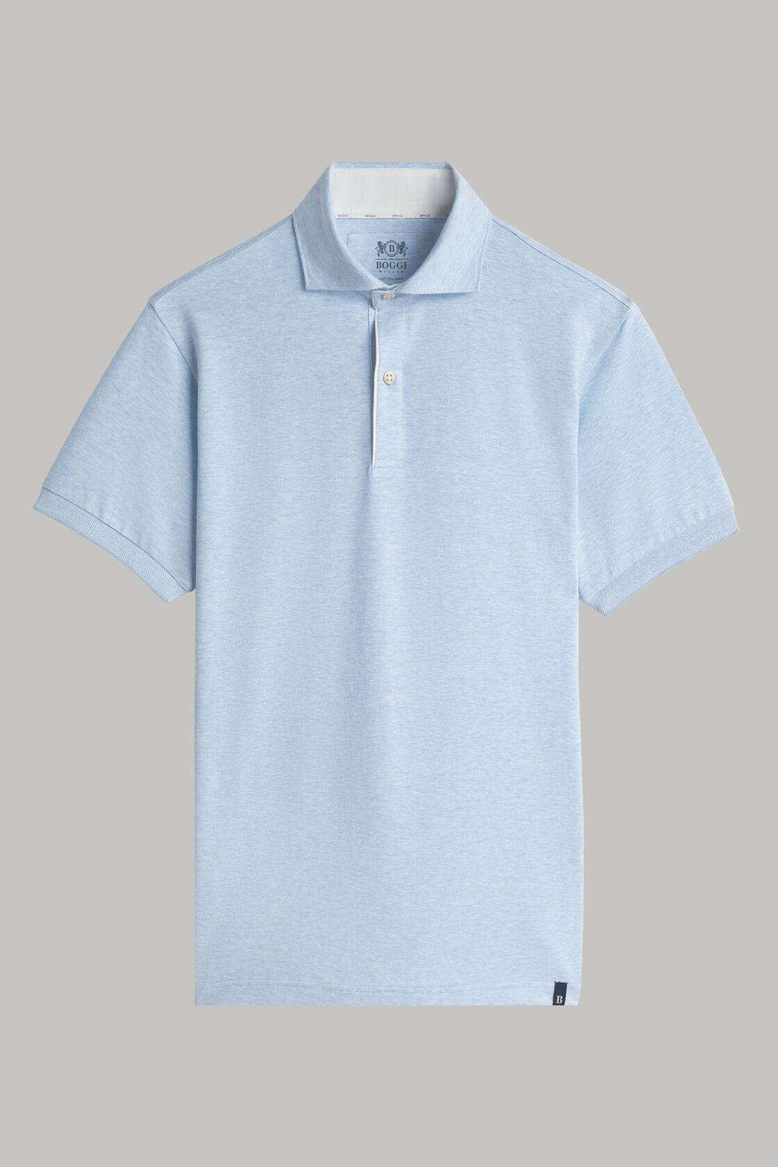 Polo aus baumwollpiqué und leinen regular fit, Hellblau, hi-res