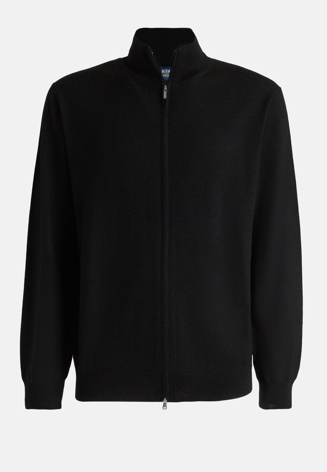 Schwarzer pullover mit durchgehendem reißverschluss aus extrafeiner merinowolle, Schwarz, hi-res