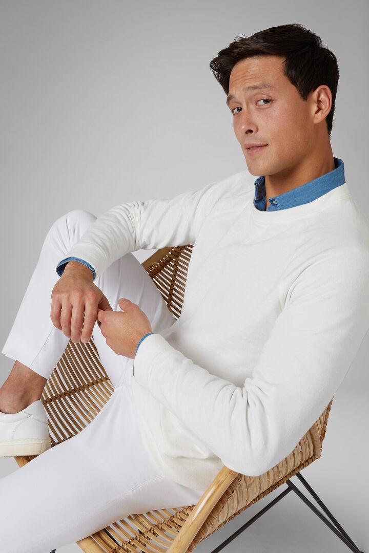 Round Neck Cotton Linen Sweatshirt, White, hi-res